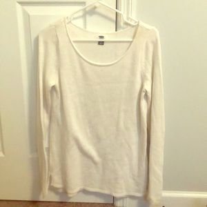 Old Navy white knit sweater.